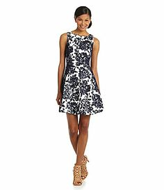 Jessica Simpson RosePrint Lace FitandFlare Dress #Dillards  Needs a vintage shoe and cardigan. Red purse