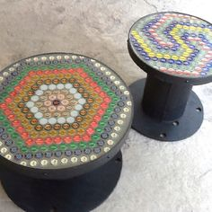 Bottle cap table made with wooden spool - use large wooden that has been refinished