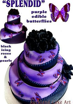 SPLENDID PURPLE BUTTERFLIES BLACK ROSES WEDDING CAKE by Anita (Auckland Cake Art), via Flickr