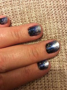 Space nails! Black, navy and silver applied with a sponge and Opi glitter top coat.