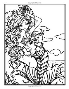 whimsy girls by hannah lynn coloring pages Blank Coloring Pages, Abstract Coloring Pages, Mermaid Coloring Pages, Printable Adult Coloring Pages, Colouring Pics, Doodle Coloring, Coloring Books, Colorful Drawings, Colorful Pictures