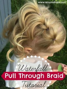 Absolutely adorable hair style for girls! My daughter loves when I do a waterfall pull through braid on her. It's really easy, just follow our simple tutorial. Curls everywhere, it's a perfect hairstyle for a wedding or fancy occasion, or just because! Gr