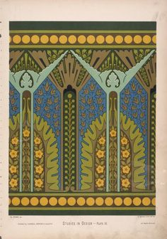 Camac: Art Deco: Colour Inspiration: Wallpaper design by Christopher Dresser, circa Trendy Wallpaper, New Wallpaper, Beautiful Wallpaper, Textiles, Textile Patterns, Pattern Art, Pattern Design, Art Nouveau, Christopher Dresser