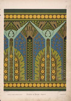 Camac: Art Deco: Colour Inspiration: Wallpaper design by Christopher Dresser, circa Textiles, Textile Patterns, Textile Prints, Pattern Art, Pattern Design, Border Pattern, Art Nouveau, Christopher Dresser, Trendy Wallpaper