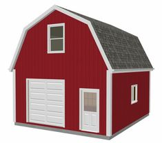 20 X 24 X 10 Gambrel Garage Barn Plans. x Gambrel Barn - Shed. Over 100 Different garage and barn plans all on one DVD. Truss or stick built option. Bonus second plan 12 x 20 x 10 DWG and PDF. Wood Shed Plans, Shed Building Plans, Diy Shed Plans, Building A Chicken Coop, Building A House, Garage Plans, Coop Plans, Garage Ideas, Building Design