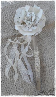 Flower Girl Petite Waving Wand by LoveEmbellished Antique Lace, Vintage Lace, Book Page Flowers, Fairy Wands, Lace Ribbon, Wedding Book, Rustic Charm, Handmade Flowers, Leather And Lace