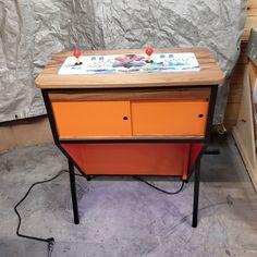 Arcade Pedestal Arcade Machine Retro Modern Furniture | Etsy Diy Arcade Cabinet, Arcade Console, Arcade Game Machines, Arcade Machine, Electronic Items, Electrical Outlets, Steel Frame, Pedestal, Modern Furniture