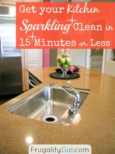 Do you often struggle with cleaning the kitchen each night after dinner? If so, this post is a must read! This minute-by-minute cleaning plan, takes the stress out of cleaning and ensures you're out of there in 15 minutes or less. In the end, you'll have a sparkling clean kitchen and more time to spend with the family. | via www.frugalitygal.com