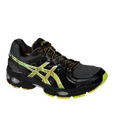 Take a look at this Black & Neon Orange Running Shoe - Men by ASICS on  today!