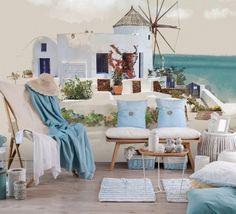 Tapet Santorini  180gr/mp Santorini, Table Decorations, Wallpaper, Furniture, Home Decor, Decoration Home, Room Decor, Wallpapers, Home Furnishings