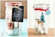 Небольшие подарки можно положить в обыкновенную стеклянную банку, украшенную красивой лентой.