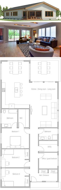 House Plan, New Home Plan, Floor Plan, Architecture Four Bedroom House Plans, New House Plans, Dream House Plans, Small House Plans, Futuristic Lighting, Cabin Homes, Planer, Interior And Exterior, Architecture Design