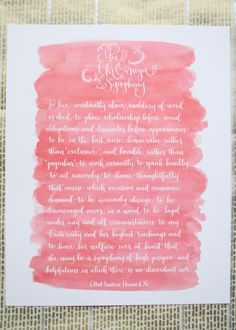 Chi Omega Symphony Calligraphy Print by rileywritesscout on Etsy, $12.00