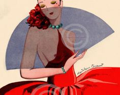 Art Deco Spanish Flapper girl print. This beautiful art print is of a flapper girl from 1925. She is holding a large rose and is very much a vamp in this picture. You will love her. Boudoir Jazz Age Vixen. This is vintage style art and frameable wall decor. Picture. size is 11x14 and she is printed on a paper size of 11x14 that goes all the way to the egde of the print.. A 11x14 frame is a standard size and is easily purchased over the counter at frame shops if you so desire…