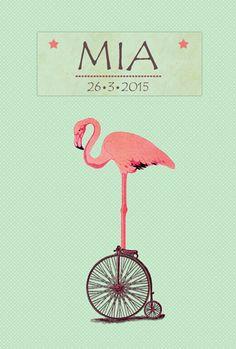 Geboortekaartje Mia - voorkant - Pimpelpluis - https://www.facebook.com/pages/Pimpelpluis/188675421305550?ref=hl (# dieren - flamingo - cirkus - lief - schattig - retro - vintage - fiets - origineel)