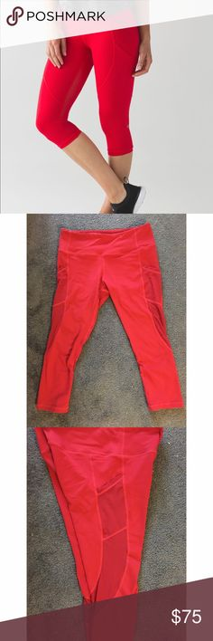Red lululemon cropped leggings size 6 Red lulu crops with mesh pockets and regular rise. The first photo isn't of this exact pair but I don't remember what style these leggings were - if anyone knows let me know! Gently used as I'm a true 4 not a 6. All pilling is between the legs and very minimal. Beautiful red color! Love these, but they're not small enough on me to workout in them. Willing to negotiate - please make me a reasonable offer! lululemon athletica Pants Leggings