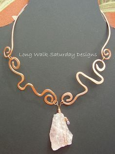 Hammered Copper Wire Jewelry   rose quartz and hammered copper necklace   Flickr - Photo Sharing!