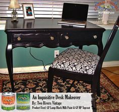 Two Rivers Vintage, https://www.facebook.com/pages/Two-Rivers-Vintage/211907815669348?fref=ts, of West Des Moines, transformed this desk with General Finishes Lamp Black Milk Paint and High Performance Top Coat.  You can find your favorite GF products at Woodcraft, Rockler Woodworking stores or Wood Essence in Canada. You can also use your zip code to find a retailer near you at http://generalfinishes.com/where-buy#.UvASj1M3mIY. #generalfinishes #gfmilkpaint #gfhptc