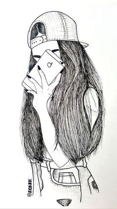 Tumblr Girl Drawing, Tumblr Drawings, Girl Drawing Sketches, Girly Drawings, Dark Art Drawings, Art Drawings Sketches Simple, Pencil Art Drawings, Tumblr Sketches, Cute Drawings Of Girls