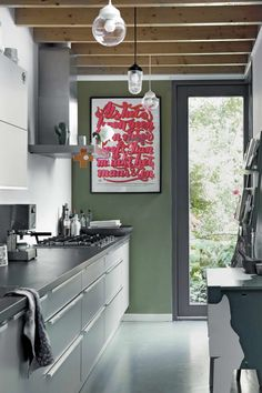 Kitchen Colors: 60 Ideas, Tips and Combinations - Home Fashion Trend Grey Kitchen Walls, Kitchen Wall Colors, Grey Kitchen Cabinets, Steel Cabinet, Wood Beams, Cuisines Design, Interior Inspiration, Kitchen Remodel, Kitchen Design