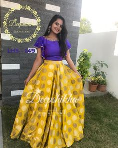 LHS Beautiful yellow color skirt and purple color crop top with bell sleeves. For queries kindly whatsapp : 91 9059683293 . Long Gown Dress, Lehnga Dress, Lehenga Designs, Saree Blouse Designs, Frock Models, Lehenga Crop Top, Crop Top Designs, Indian Gowns Dresses, Girls Dresses