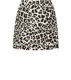 Brown Leopard Print Jacquard A-Line Skirt