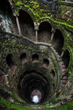 Initiation Well located at Quinta da Regaleira in Sintra, Portugal contains a descending spiral staircase which leads to a variety of exits.