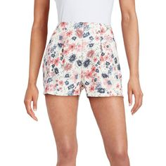 Design Lab Lord & Taylor Floral Print Hi-Rise Shorts ($29) ❤ liked on Polyvore featuring shorts, white multi, pleated shorts, floral print shorts, floral printed shorts, white shorts and floral shorts
