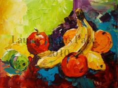 Spilled Fruit Palette Knife Fruit Still Life Oil Painting by Texas Artist Laurie Justus Pace, painting by artist Laurie Justus Pace