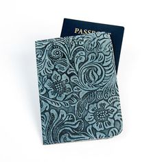 Blue Floral Embossed Genuine Leather Handmade Passport Cover https://sitaracollections.com/collections/travel-accessories/products/blue-floral-embossed-genuine-leather-passport-cover