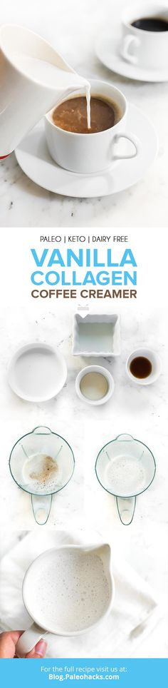 Whip up this dairy-free, collagen-rich coffee creamer with just a handful of ingredients. We've found the best way to add collagen to your diet yet! Paleo Keto Recipes, Ketogenic Recipes, Tea Recipes, Coffee Recipes, Healthy Breakfast Recipes, Low Carb Recipes, Drink Recipes, Healthy Drinks, Delicious Recipes