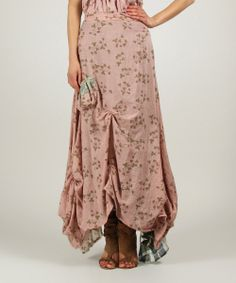 Old Pink & Green Floral Gathered Maxi Skirt