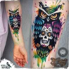 Colorful owl tattoo by Ewa Sroka