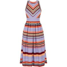TEMPERLEY LONDON   Charm paneled jacquard midi dress (1.845 BRL) ❤ liked on Polyvore featuring dresses, purple dresses, multicolored dress, jacquard midi dress, criss-cross back dresses and colorful midi dresses