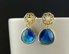 Blue Sapphire Earrings. Navy Blue by SimpleElegantJewelry on Etsy, $19.00