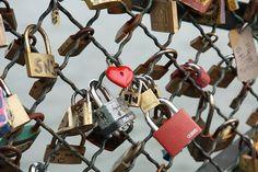 'Love locks', Pont des Arts, River Seine at Paris, France