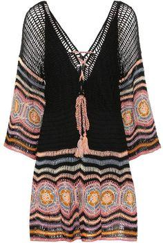 Anna Kosturova Carly Crocheted Cotton Minidress In Black Prom Dress Shopping, Online Dress Shopping, Hippie Crochet, Ulla Johnson, Crepe Dress, Crochet Fashion, Alternative Fashion, Crochet Clothes, Luxury Fashion