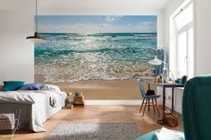 Giant size wallpaper mural for living room. Seaside - beach scene paper wallpaper ideas. Express and worldwide shipping. Free UK delivery.