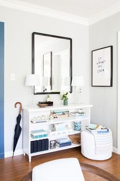The Designer's Dilemma: Never Not Rearranging the Living Room – Homepolish Library Shelves, Bookshelves, New Living Room, Living Spaces, Interior Decorating, Interior Design, Room Interior, Room Inspiration, Small Spaces