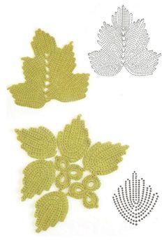 Crochet_Stitches - Beautiful Irish Crochet Leaves with Charts via KnittingGur Appliques Au Crochet, Crochet Leaf Patterns, Crochet Leaves, Crochet Motifs, Freeform Crochet, Crochet Diagram, Thread Crochet, Crochet Designs, Crochet Flowers