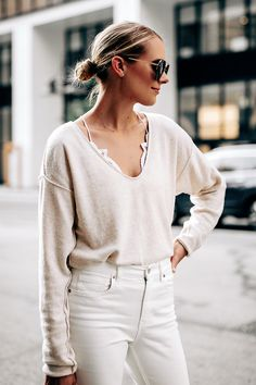2f8f0e9ff65 Blonde Woman Wearing Free People Ivory Cashmere Sweater White Lace Bralette  Everlane White Jeans Fashion Jackson