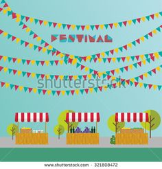 Tent on the market, farm products, wine and grapes, lemonade and lemons in wooden box. Market place. Festival. Flags outdoor.