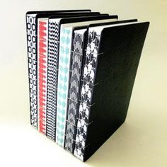 coptic stitch journals with decorative spines by Canteiro de Alfaces #bookbinding by valeriaharrison4532