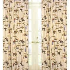 Wild West Cowboy and Horses 84-inch Curtain Panel Pair -- not thermal or blackout - but adorable.