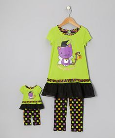 Take a look at this Green Cat Ruffle Tunic Set & Doll Outfit - Girls by Dollie & Me on #zulily today!