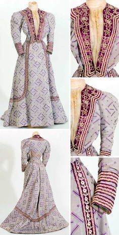 Dress, Spanish, ca. 1900-09. White silk voile blouse; lapels hand-embroidered. Long tulip-shaped train. Fabric design is typically Catalan. Textile Museum & Documentation Center of Terrassa (IMATEX)
