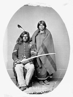Rattlesnake (aka George Esaw) with his wife - Pawnee – 1868