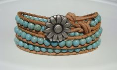 Turquoise Magnesite Beaded Leather Wrap Bracelet by tinacdesigns