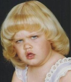 A Face Only a Mother Could Love - Little Girl with Golden Locks in a Bowl Cut  ---- best hilarious jokes funny pictures walmart humor fail