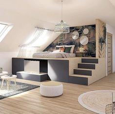 Buy Bedroom Furniture, Bedroom Decor For Small Rooms, Room Design Bedroom, Home Room Design, Dream Home Design, Home Decor Bedroom, Home Interior Design, Cozy Bedroom, Plataform Bed